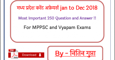 MP Current Affairs Jan to Dec 2018 Most Important 250 Question and Answer PDF in Hindi