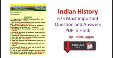 Indian History 675 Most Important Question and Answers PDF in Hindi