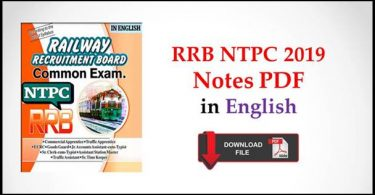 RRB NTPC 2019 Notes PDF in English Free Download